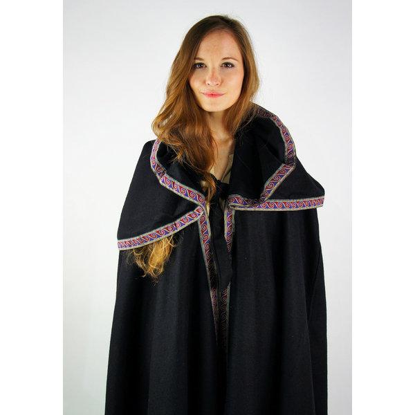 Broderad mantel Lyra, svart