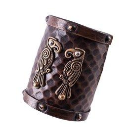 Deepeeka Bracelet en cuir Huginn & Muninn