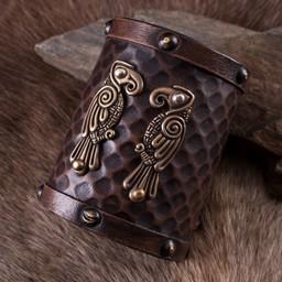 Leather bracelet Huginn & Muninn