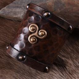 Leather bracelet Celtic triskelion