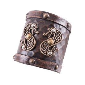 Deepeeka Läder Viking armband med drakar