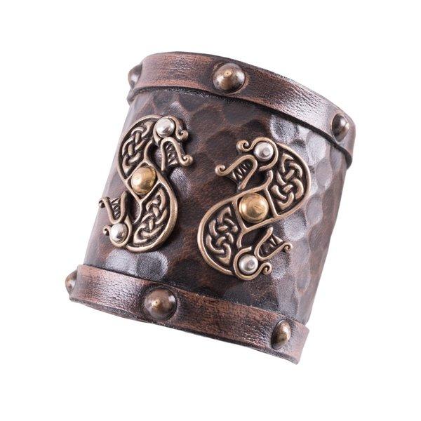 Deepeeka Skórzana bransoletka Viking ze smokami