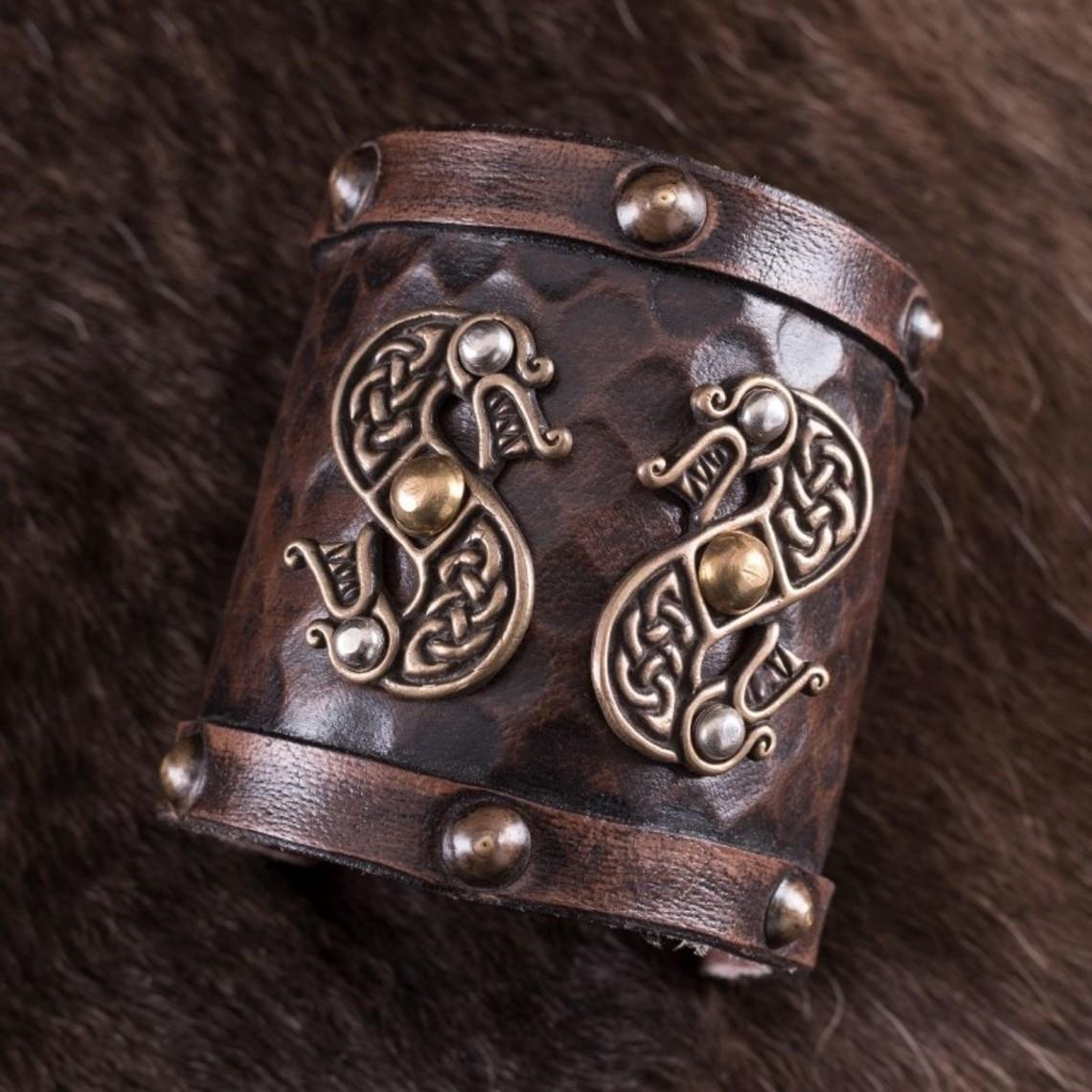 Deepeeka Leren Vikingarmband met draken