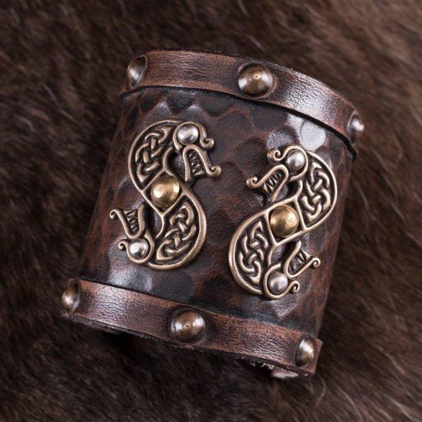 Deepeeka Leather Viking bracelet with dragons