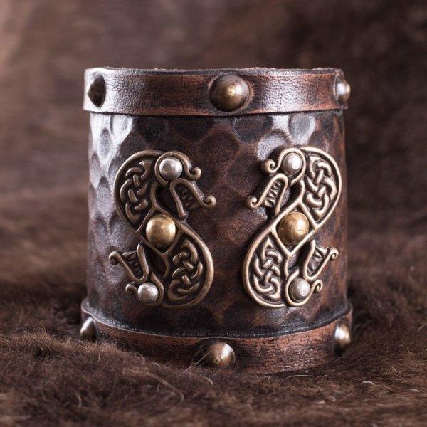 Deepeeka Bracelet en cuir avec Viking dragons