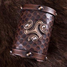 Deepeeka Bracelet en cuir celtique triquetra