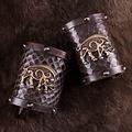 Deepeeka guerrier en cuir bracelets sanglier celtique Knocknagael, paire