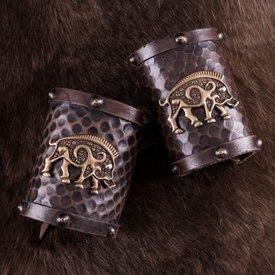 Deepeeka Leather warrior bracelets Celtic boar Knocknagael, pair