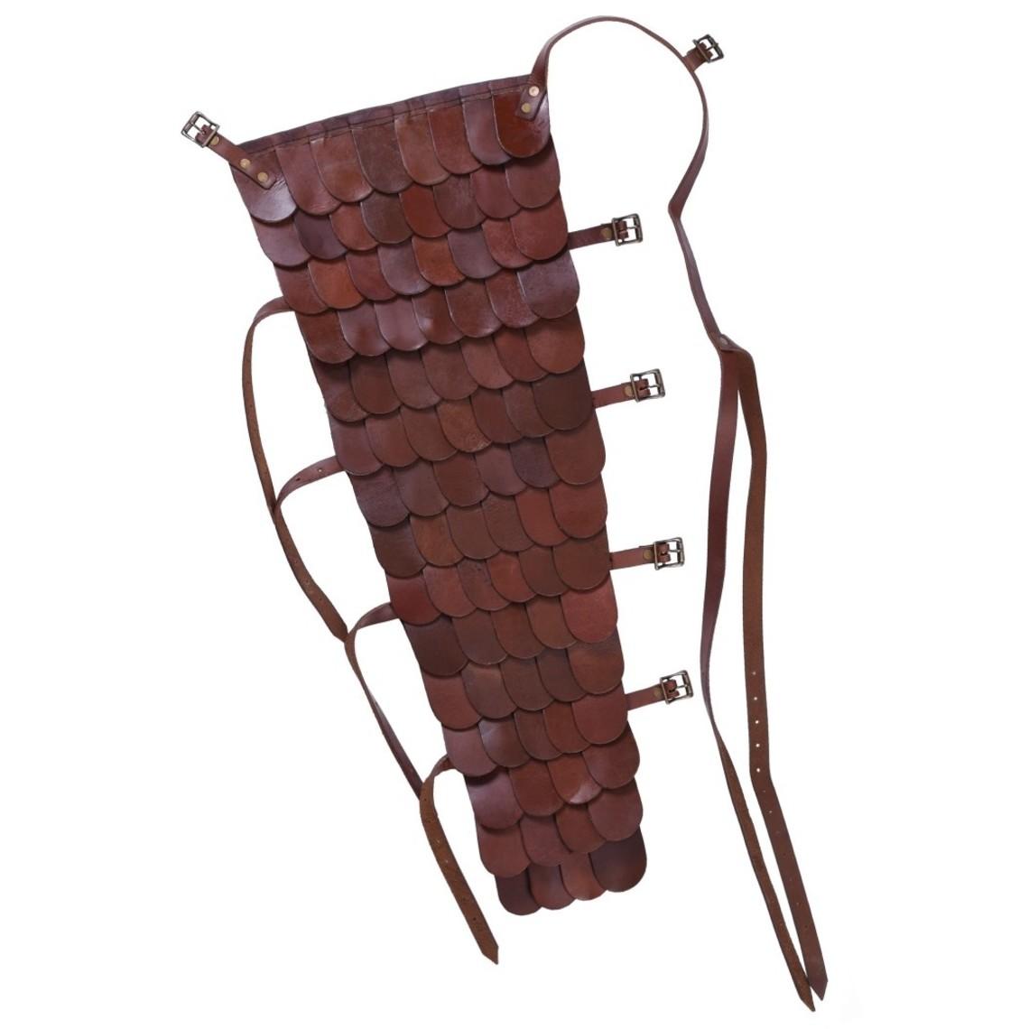 Deepeeka Leren geschubde manica / armbeschermer gladiator