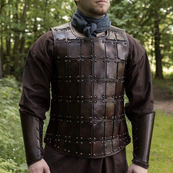 Deepeeka Brigandine médiévale en cuir, marron