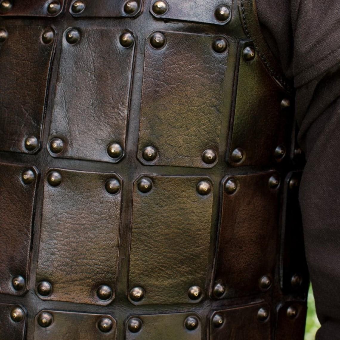Deepeeka Brigandine medieval de cuero, marrón