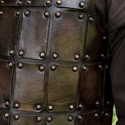 Brigandine medieval de cuero, marrón