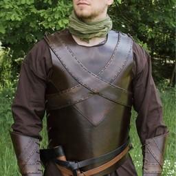 Pelle torso armatura con croce, marrone