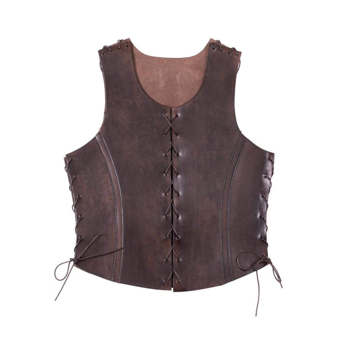 Deepeeka Läder torso rustning med skosnören, brun