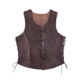 Deepeeka Læder torso rustning med snørebånd, brun