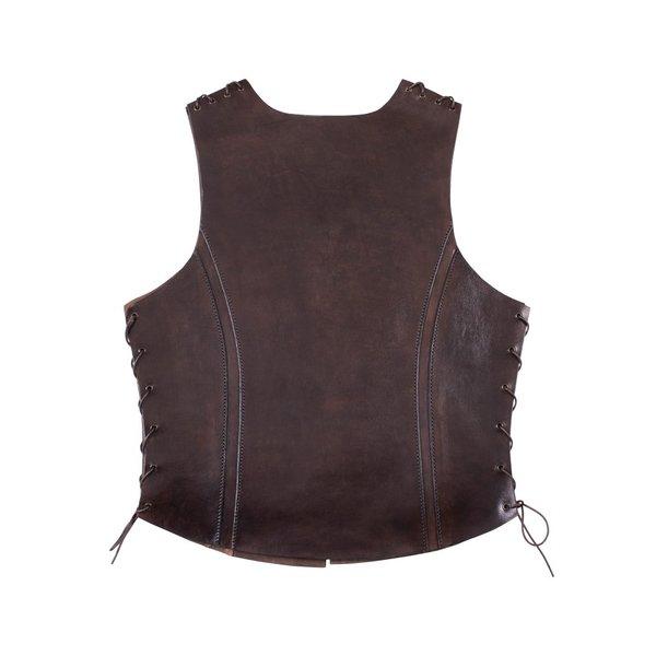 Deepeeka Cuero torso armadura con cordones, marrón