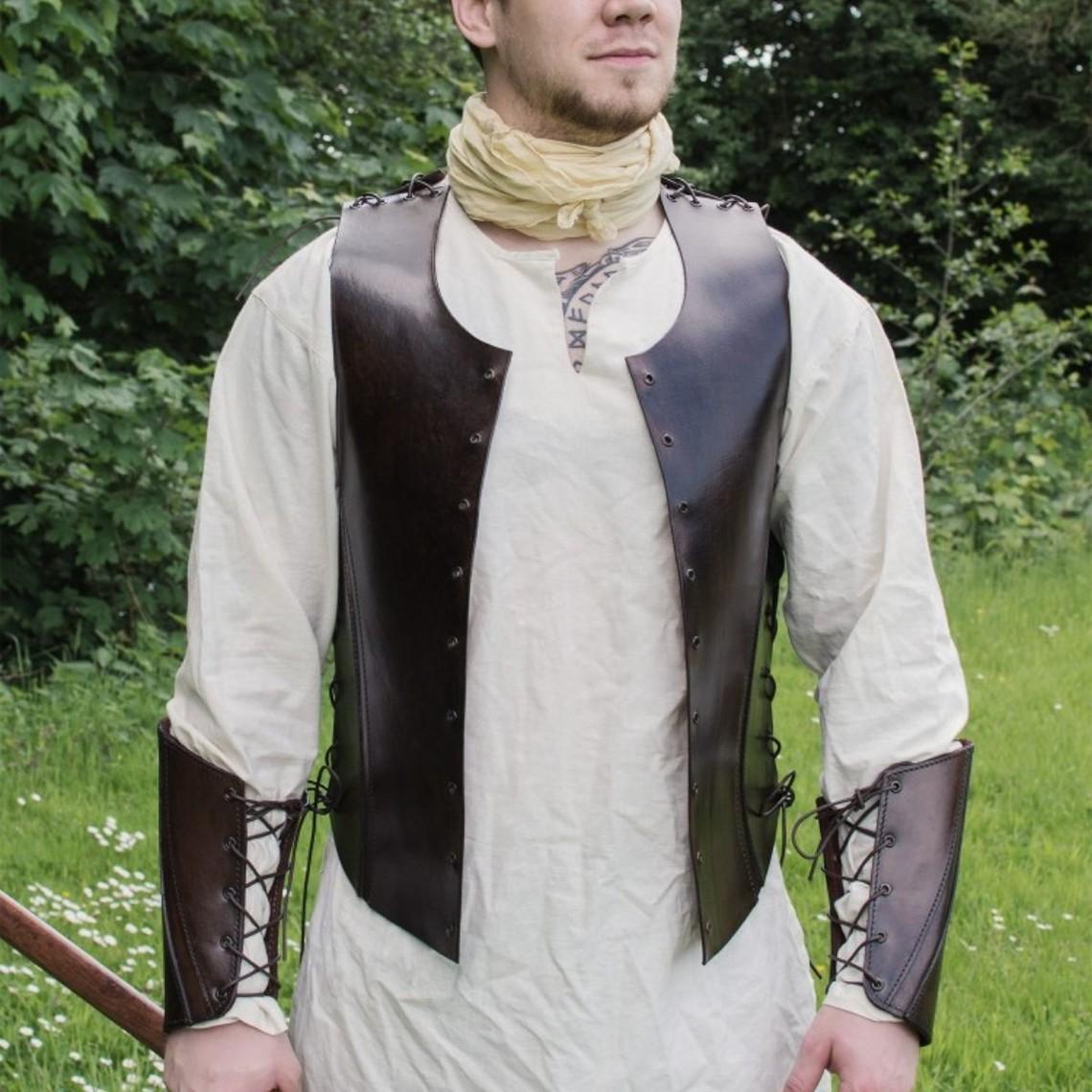 Deepeeka Pelle torso armatura con lacci, marrone
