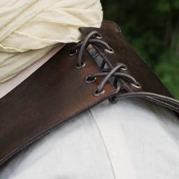 Cuero torso armadura con cordones, marrón