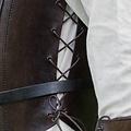 Deepeeka Leren borstpanter met veters, bruin
