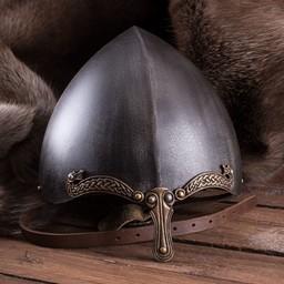 Casco vikingo nasal con serpientes, patinado