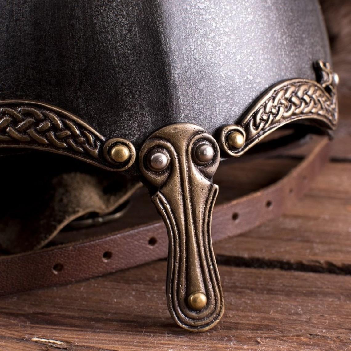 Deepeeka Viking Nasalhelm mit Schlangen, patiniert