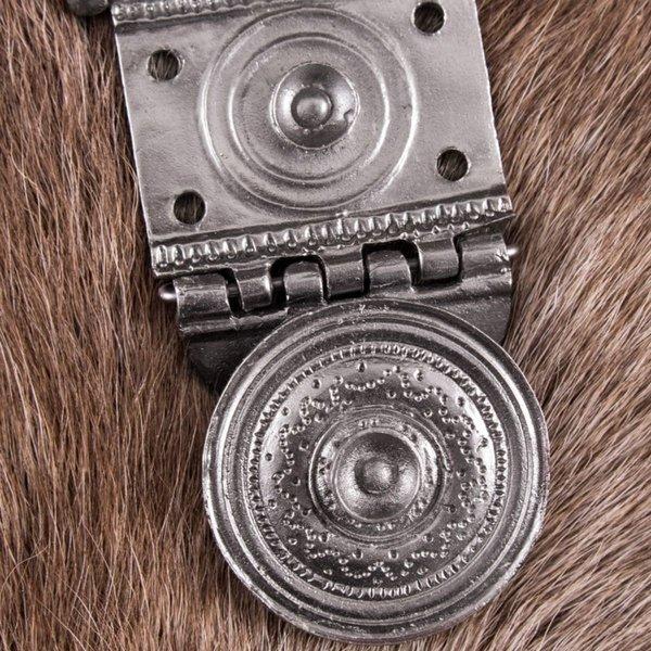 Deepeeka Roman belt fitting Tekija for pugio, tinned brass, pair