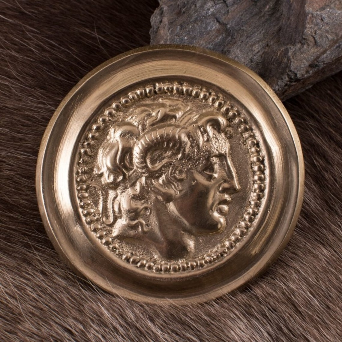 Deepeeka Romeinse phalera Alexander de Grote goudkleurig