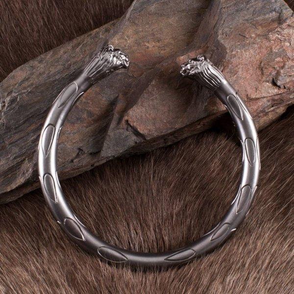 Deepeeka Roman torcs med løvehoveder, par, sølv farve