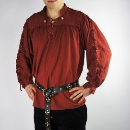 Pirate shirt with laces, red