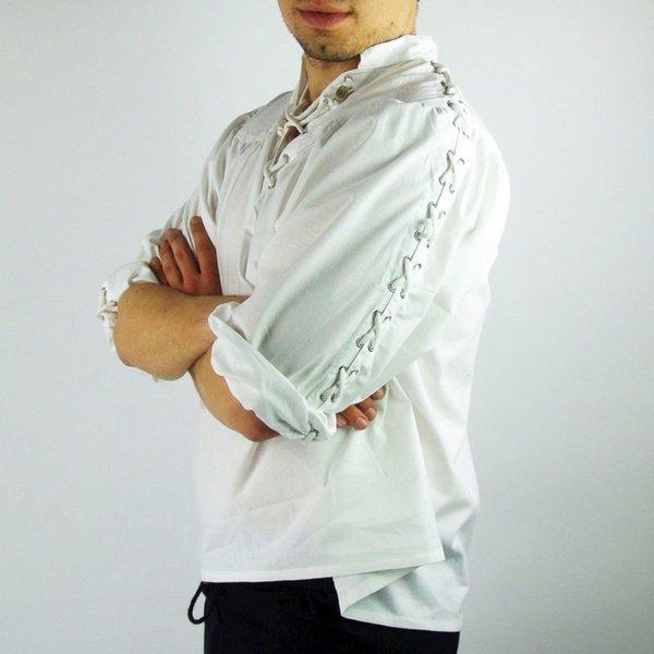 Leonardo Carbone Pirate shirt med snørebånd, hvid