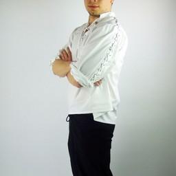 Camicia pirata con lacci, bianco
