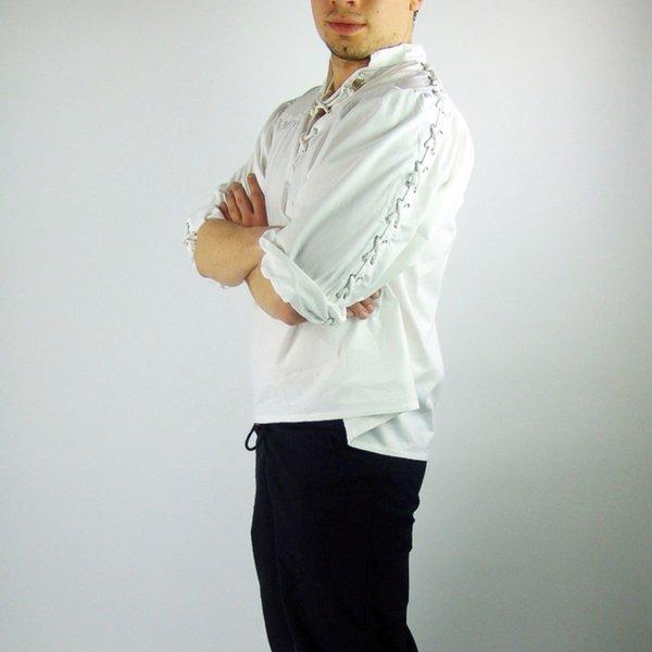 Chemise Pirate avec des lacets, blanc