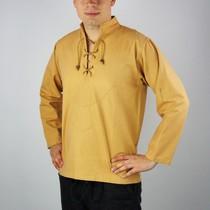 Handgeweven hemd, honingbruin