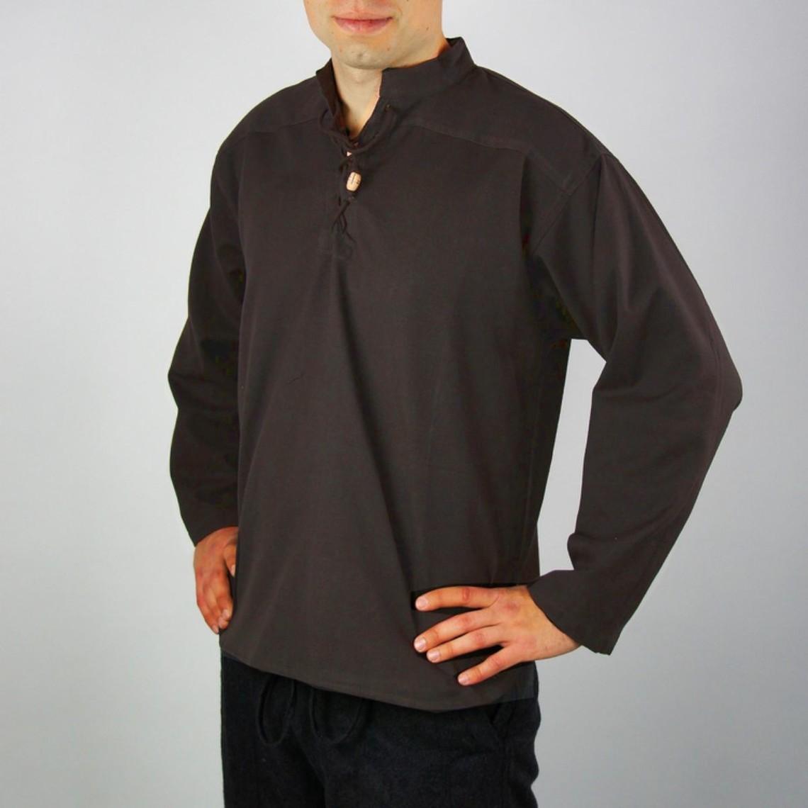 Leonardo Carbone Handgeweven hemd, donkerbruin