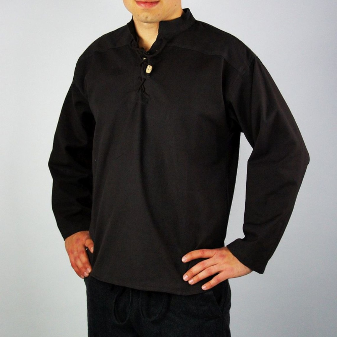 Leonardo Carbone Handgeweven hemd, zwart