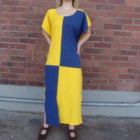 Surcoat, kariert, gelb-blau