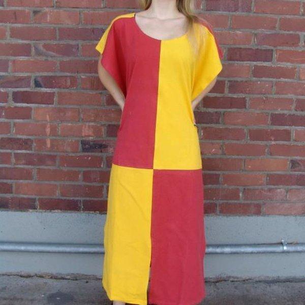 Overkleed, geruit, geel-rood