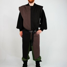 Surcoat, kariert, schwarz-braun