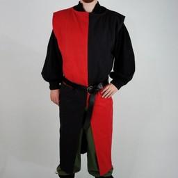 Surcoat, kariert, schwarz-rot