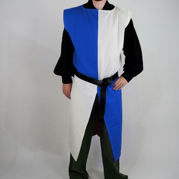 Leonardo Carbone Surcoat, kariert, weiß-blau