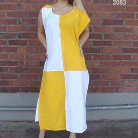 Surcoat, kariert, weiß-gelb