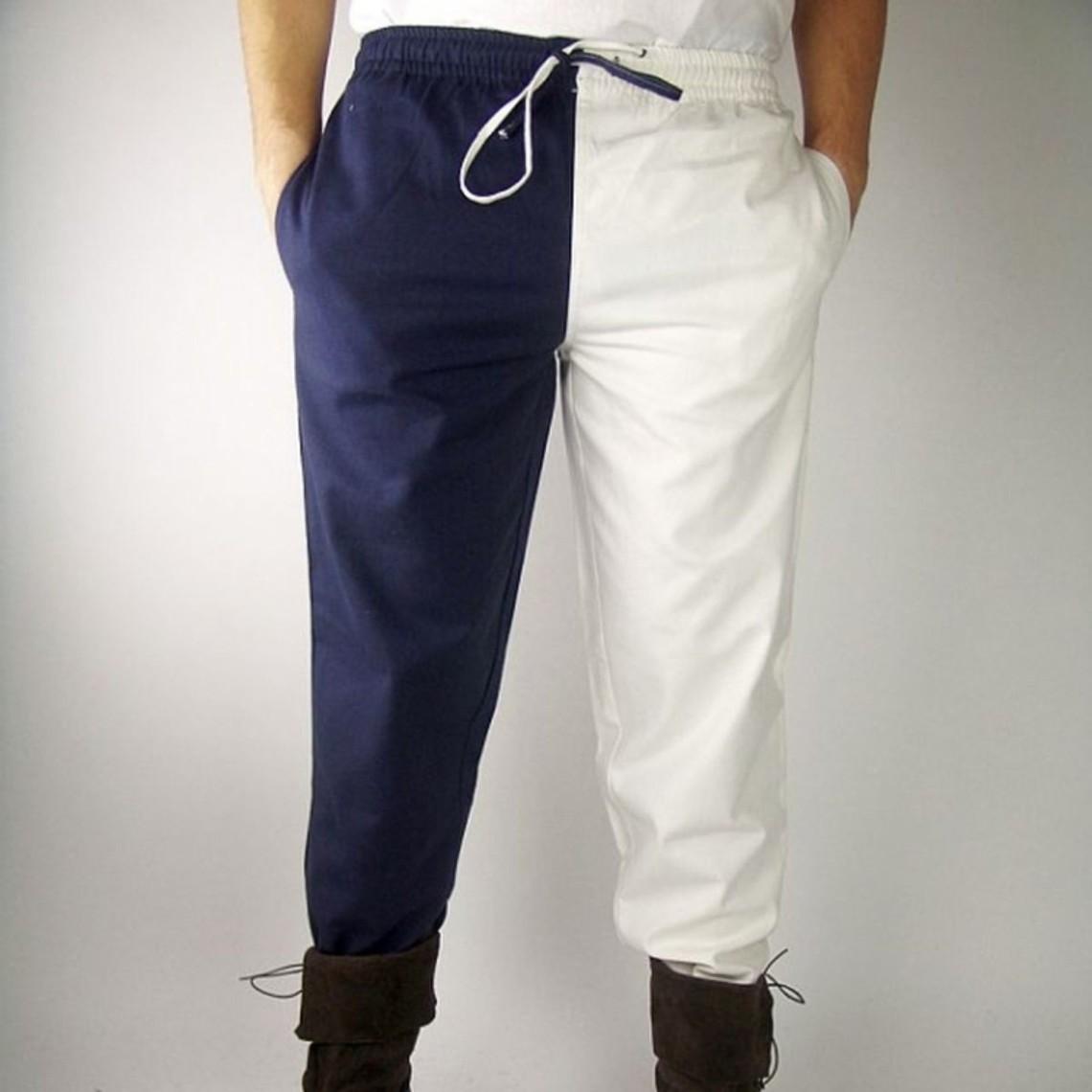 Leonardo Carbone Laat 14de eeuwse broek Mi parti, blauw-wit