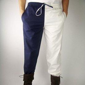 Late 14th century trousers Mi parti, blue/white