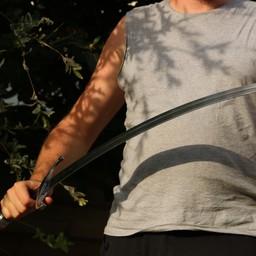 Średniowieczny miecz gotowy do walki ze skórzaną pochwą, hartowany