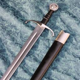 Middeleeuws zwaard battle-ready met leren schede, getemperd (bot 3 mm)