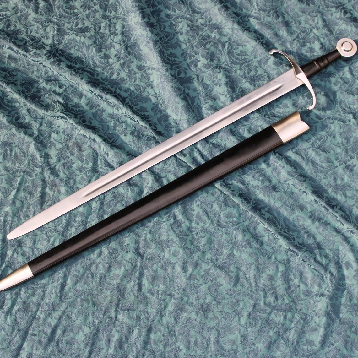Windlass Steelcrafts Spada medievale da combattimento con fodero in pelle, temperato