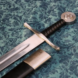 Templar sword battle-ready with leather scabbard (blunt 3 mm)