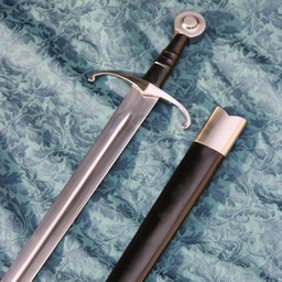 Medieval sword battle ready with leather scabbard