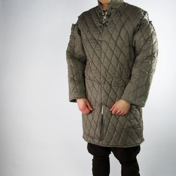 Gambeson with removable sleeves, brown green