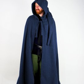 Leonardo Carbone Capa medieval con capucha, azul.